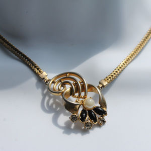 Faux pearl, onyx, diamond, gold necklace